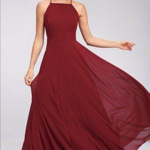 LULUS MYTHICAL KIND OF LOVE WINE MAXI DRESS NWOT